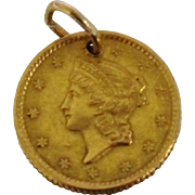 1851 1 Dollar US Gold Coin Charm 14K 90% Gold