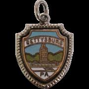 Vintage Sterling Enamel Gettysburg Travel Shield Charm