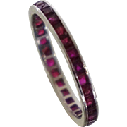 Vintage Platinum Ruby Eternity Stacking Ring Band Sz 6.75