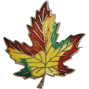 Large Enamel Canada Maple Leaf Pin Sterling