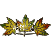 Sterling Enamel Canada 3 Maple Leaf Pin