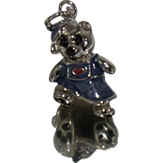 Sterling Enamel Bear Charm Pendant