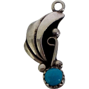 Native American Sterling Turquoise Charm Pendant Signed