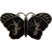 Sterling Siam Niello Butterfly Pin