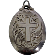 Vintage Sterling Silver Cross Locket Pendant