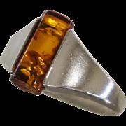 Vintage Amber Sterling Ring Sz 8.25