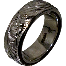 SUBSTANTIAL Platinum Floral Band 19.4 Grams Wedding Engraved Flowers Sz 5.5 Pt 950 Ring