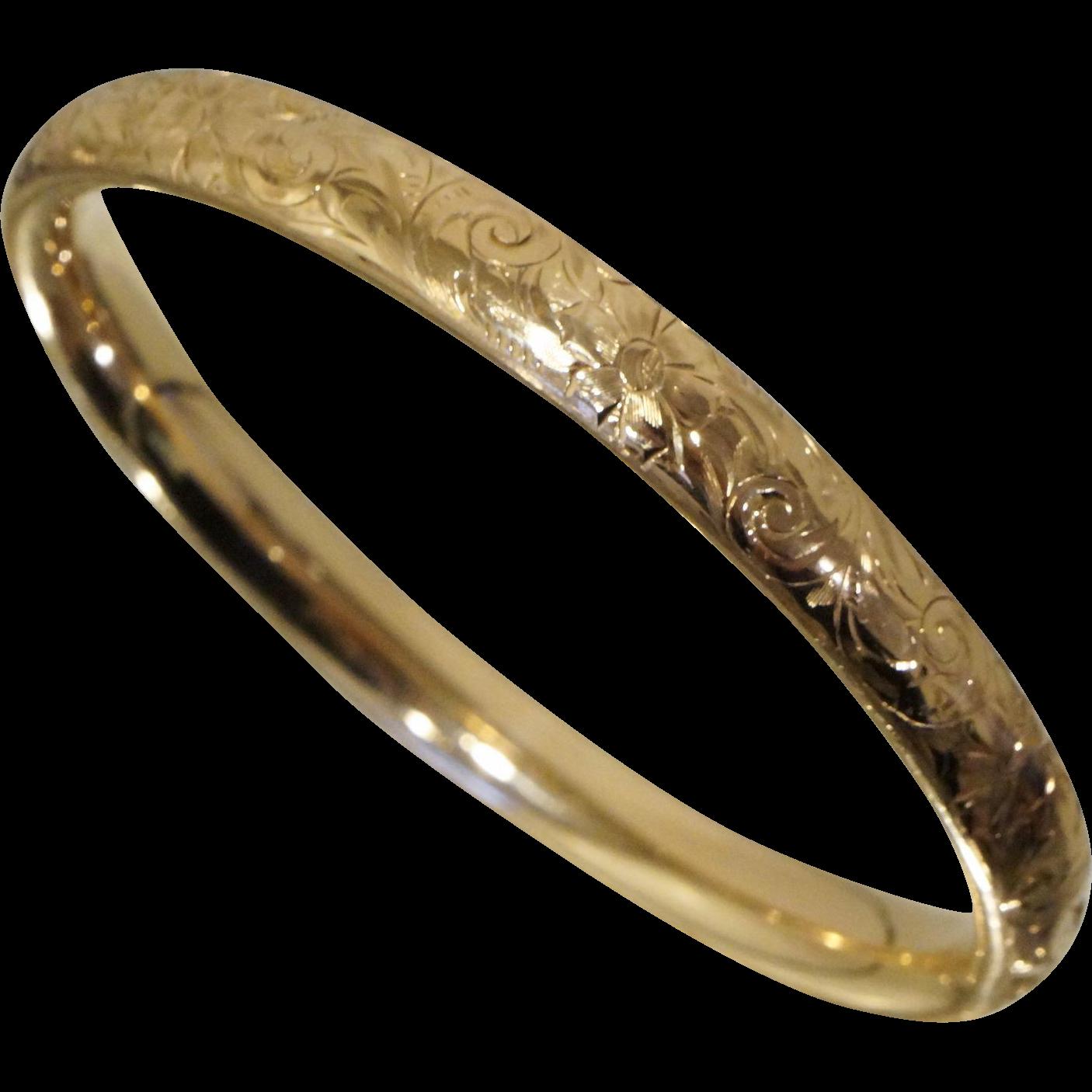Art Nouveau 10K Gold Slide Over Bangle Floral Repousse Cuff Bracelet