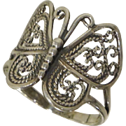 Sterling Butterfly Filigree Ring Sz 8