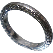 PERFECT Platinum Art Deco Band Wheat Wedding Ring Sz 3