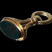 Antique 14K Blood Stone Fob Pendant Necklace Bloodstone