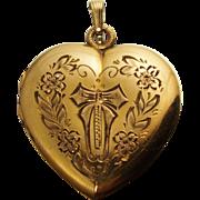 Gold Filled Floral Heart Locket Pendant