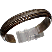 SUBSTANTIAL Native American Tahe Sterling Cuff Bracelet