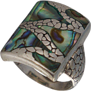 Sterling Abalone Ring Sz 9