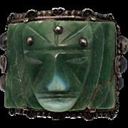 Mexico Sterling Jade Face Cuff Bracelet 900 Silver El Incendio