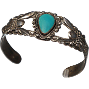 Bell Trading Company Sterling Native American Sterling Turquoise Cuff Bracelet