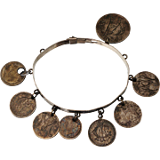 1875 Victorian Sterling Love Token Bracelet Bangle Coin Silver