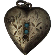 Victorian Sterling Puffy Heart Turquoise Charm