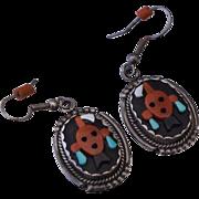 Beverly Etsate Zuni Sterling Native American Mudhead Kachina Earrings Dangle