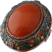 Chinese Export Sterling Coral Enamel Ring