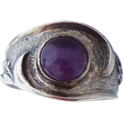 Chinese Export Amethyst Sterling Ring Sz 7.5