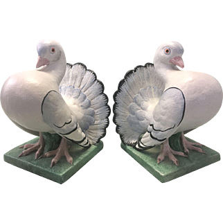 Vintage Mid Century Modern Italy Ceramic Pottery Bookends Dove Pigeon Birds