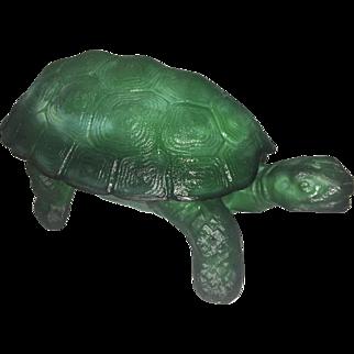 Vintage Czech Green Malachite Slag Glass Turtle Dish W Shell Lid Jewelry Trinket Box