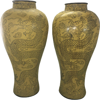 Pr Tall Antique Chinese Asian Yellow Cloisonne Urns Vases