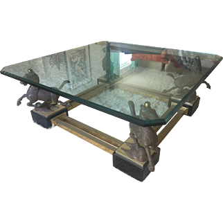 Hollywood Regency Bronze Metal Coffee Table Flying Horse Of Gansu Maison Charles