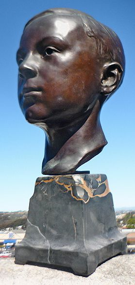 Artist Dayton Brown 1920 Bronze Bust Of Boy On Marble Stand