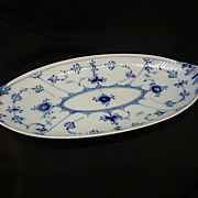 Vintage Royal Copenhagen Blue Fluted Lace Porcelain Oval Pickle Dish