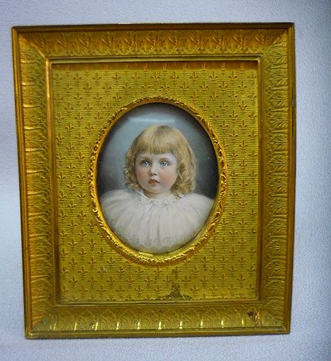 Antique Mathieu Deroche French Enamel Little Girl Portrait In Gilt Bronze Frame