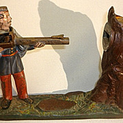 Antique Cast Iron Mechanical Bank J E Stevens Creedmoor Shooter
