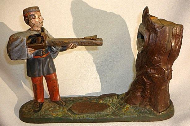 Antique Cast Iron Mechanical Bank J E Stevens Creedmoor Shooter