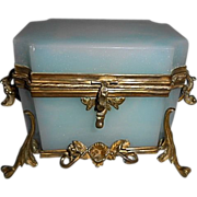 Royal Palais French Opaline Glass Jewelry Casket Box W Bronze Ormolu