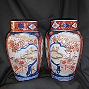 Pr Tall Antique Meji Japanese Imari Vases 19th C Japan