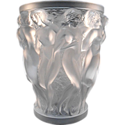 Lalique Crystal Glass Bacchantes Dancing Nude Women Frosted Vase France