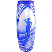 Art Deco Nouveau Cameo Glass Vase Cobalt Skier Trees Signed