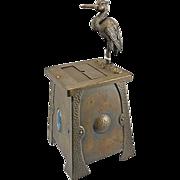 Antique Mechanical English Art & Crafts Metal Cigarette Box Holder Stork