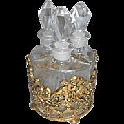 Vintage Scent Perfume Bottle Set W Ormolu Holder W Cherubs