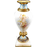 Antique French Sevres Style Enameled Porcelain Mini Urn Cherubs