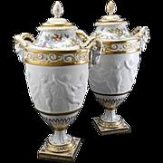 Pr Sevres Style Paris Bisque Porcelain Urns After Clodion Cherubs