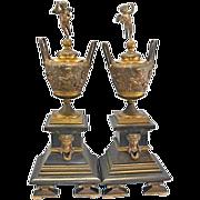 Antique French Bronze Marble Garniture Urns Vases Cherub Lids Napoleon French Empire