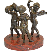 Bronze Sculpture Putti Cherubs Musician Marble Base After Clodion