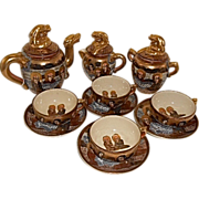 Japanese Meiji Period Satsuma Dragon Ware Pottery Tea Set