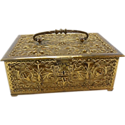 Erhard & Sohne German Art Nouveau Brass Jewelry Casket Box