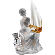 Vintage St Louis Crystal Glass Figurine Lady Musician France