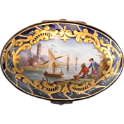 Sevres Style Cobalt Porcelain French Box Signed Leduc