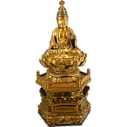 Antique Meiji Period Japanese Gilt Wood Carved Buddha Kwan Yin Lotus Base