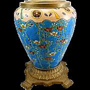 Vintage Asian Chinese Cloisonne Porcelain Ormolu Planter Urn